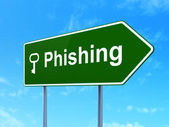 Safety concept: Phishing and Key on road sign background — Foto de Stock