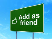 Social network concept: Add as Friend and Thumb Up on road sign background — Stock Photo