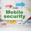 Security concept: arrow with Mobile Security on grunge wall background — Foto Stock