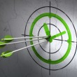 Time concept: arrows in Clock target on wall background — 图库照片