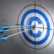 Law concept: arrows in Copyright target on wall background — Stock Photo