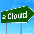 Cloud networking concept: Cloud and Cloud on road sign background — Stock Photo