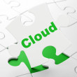 Cloud networking concept: Cloud on puzzle background — Foto Stock