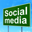 Social network concept: Social Media on road sign background — Stock Photo #36106733