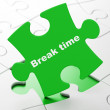 Stock Photo: Timeline concept: Break Time on puzzle background