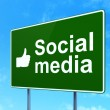 Social network concept: Social Media and Thumb Up on road sign background — Stock Photo