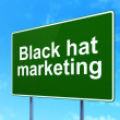 Business concept: Black Hat Marketing on road sign background — Stock Photo