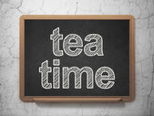 Timeline concept: Tea Time on chalkboard background — Stock Photo
