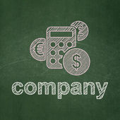 Finance concept: Calculator and Company on chalkboard background — Stock Photo