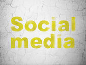 Social media concept: Social Media on wall background — Stok fotoğraf