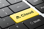 Cloud computing concept: Cloud Network and Cloud on computer keyboard background — Stock Photo
