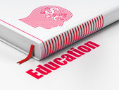 Education concept: book Head With Finance Symbol, Education on white background — 图库照片
