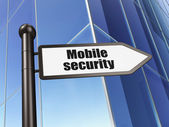 Security concept: sign Mobile Security on Building background — Stock Photo