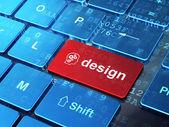 Pazarlama kavramı: baş ve bilgisayar klavye arka plan tasarımı마케팅 개념: 헤드 기어와 컴퓨터 키보드 배경 디자인 — Stok fotoğraf