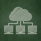 Conceito de computação em nuvem: rede de nuvem sobre fundo de quadro de giz — Fotografia Stock