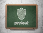 Safety concept: Shield and Protect on chalkboard background — Stockfoto