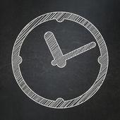 Timeline concept: Clock on chalkboard background — Foto Stock