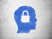 Data concept: Head With Padlock on wall background — Stok fotoğraf