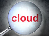 Cloud computing concept: Cloud with optical glass — Stock Photo