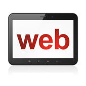 Web design concept: Web on tablet pc computer — Stok fotoğraf