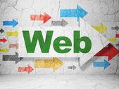 Concept de développement web : flèche avec web sur fond de mur de grunge — Photo