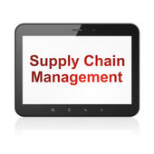 Advertising concept: Supply Chain Management on tablet pc — Stock Photo