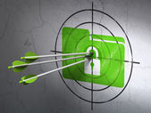 Business concept: arrows in Folder With Lock target on wall background — Stock Photo