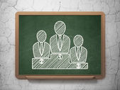 News concept: Business Team on chalkboard background — Stock Photo