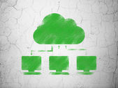 Cloud computing concept: Cloud Network on wall background — ストック写真
