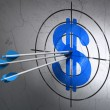 Currency concept: arrows in Dollar target on wall background — Stock Photo #36172447