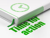 Time concept: book Clock, Time for Action on white background — Stock Photo