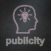 Advertising concept: Head With Lightbulb and Publicity on chalkboard background — Stock Photo