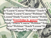 Education concept: Knowledge Is power! on Money background — Zdjęcie stockowe