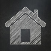Security concept: Home on chalkboard background — Stockfoto