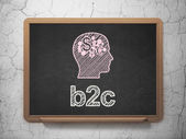 Business concept: Head With Finance Symbol and B2c on chalkboard background — Zdjęcie stockowe