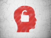 Finance concept: Head With Padlock on wall background — 图库照片