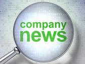 News concept: Company News with optical glass — Stock Photo