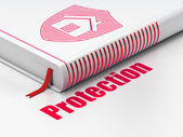 Safety concept: book Shield, Protection on white background — Stok fotoğraf
