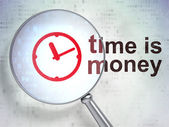Time concept: Clock and Time is Money with optical glass — Stock Photo