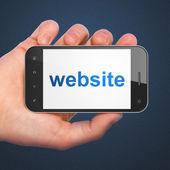 Conceito de SEO web design: site em smartphone — Fotografia Stock