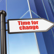 图库照片: Time concept: sign Time for Change on Building background