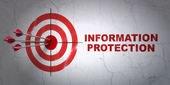 Security concept: target and Information Protection on wall — Stockfoto