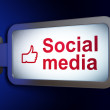 Social media concept: Social Media and Thumb Up on billboard background — Stock Photo