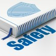 Protection concept: book Shield, Safety on white background — 图库照片