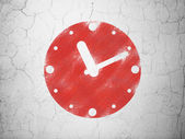 Timeline concept: Clock on wall background — Stock Photo