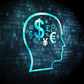 Education concept: Head With Finance Symbol on digital background — Stock Photo