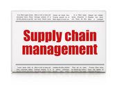 营销理念: 报纸头条供应链管理 — 图库照片