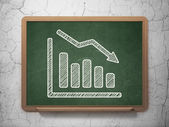 Finance concept: Decline Graph on chalkboard background — Stock Photo