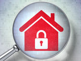 Protection concept: Home with optical glass on digital background — Stock Photo