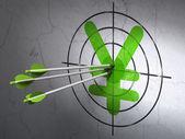 Concetto di valuta: frecce in yen bersaglio su sfondo muro — Foto Stock